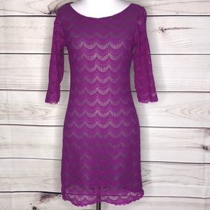 Free People Purple Lace Fringe Overlay LS Dress XS